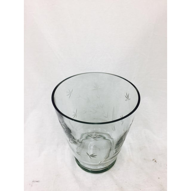 Large Etched Glass Vase For Sale - Image 9 of 10