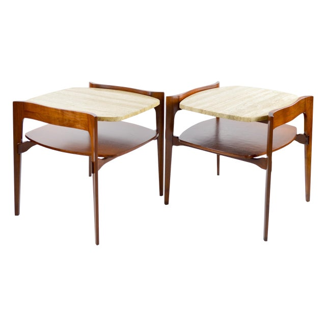 Travertine & Walnut Modern Side Tables - Pair by Bertha Schaefer - Image 1 of 11