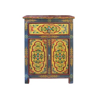 Tibetan Oriental Black Yellow Floral End Table Nightstand For Sale