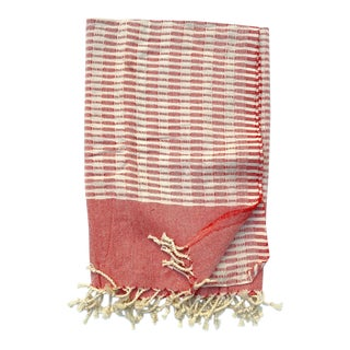 Turkish Tamam Yumi Handwoven Cotton Strawberry Towel For Sale