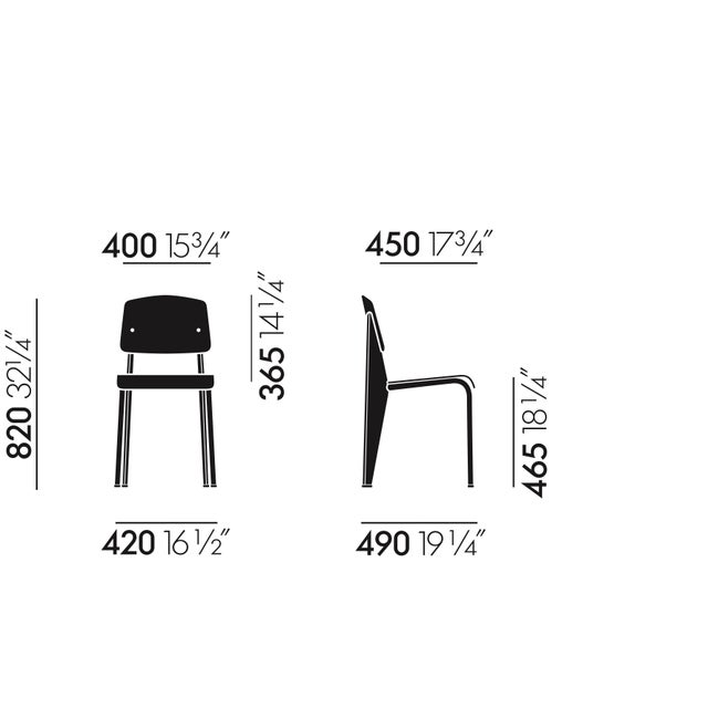 Mid-Century Modern Jean Prouvé Standard Chair in Dark Oak and Red Metal for Vitra For Sale - Image 3 of 5
