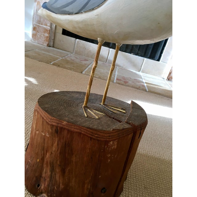 Wooden Seagull Mounted on Pedestal For Sale - Image 7 of 8
