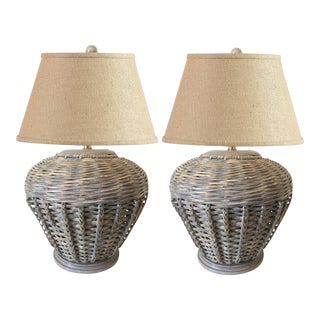 1970s Vintage Malibu-Style Wicker Table Lamps - A Pair For Sale