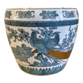 Vintage Chinoiserie Blue and White With Gilt Accents Handpainted Planter For Sale