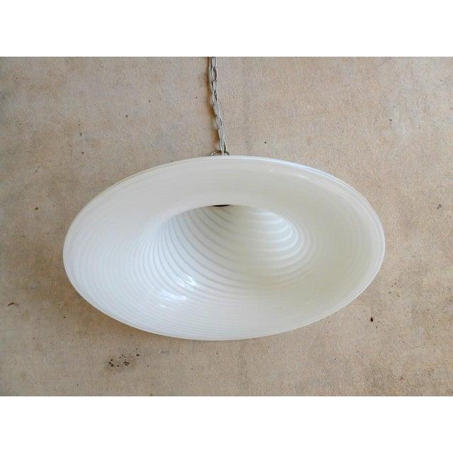 White 1960s Murano Art Glass Pendant Light Fixture For Sale - Image 8 of 10