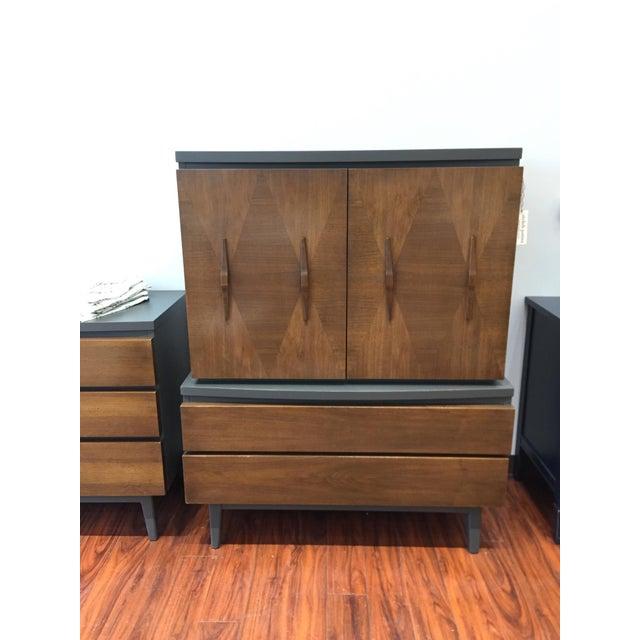 Mid-Century Modern Tall Ebony 2-Toned Dresser - Image 6 of 6