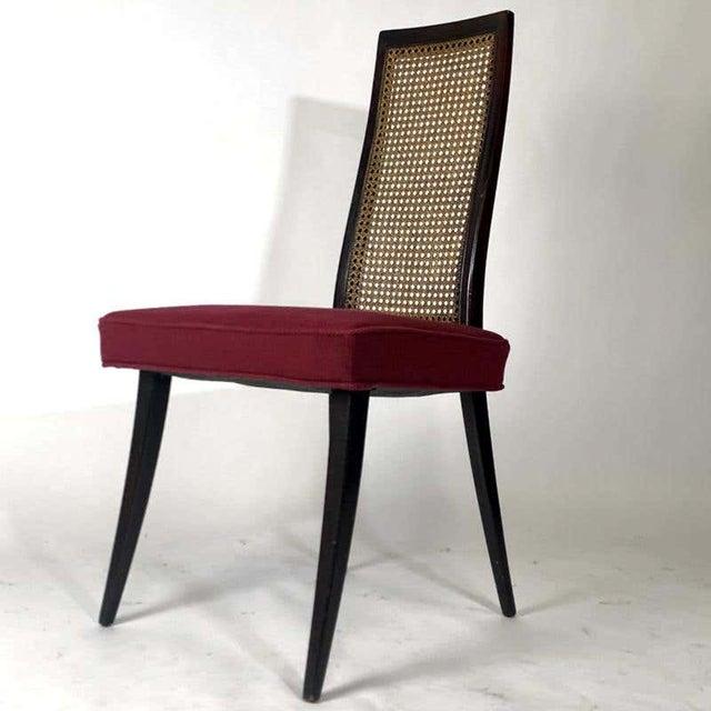 Wood Set of 4 Harvey Probber Cane and Ebonized Mahogany Model 1055 Dining Chairs For Sale - Image 7 of 9