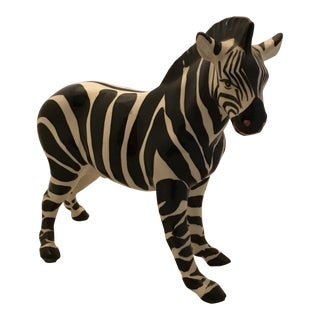 Italian Ceramic Zebra Statue For Sale
