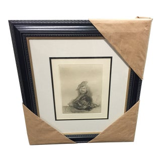 Rembrandt Etching Self Portrait With Coa For Sale