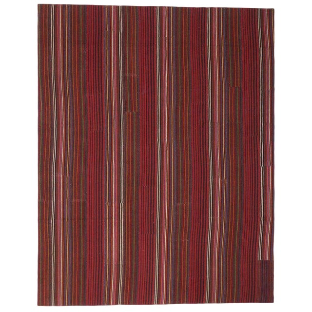 Late 20th Century Vintage Turkish Jajim Kilim Flat-Weave Rug - 9′9″ × 12′5″ For Sale