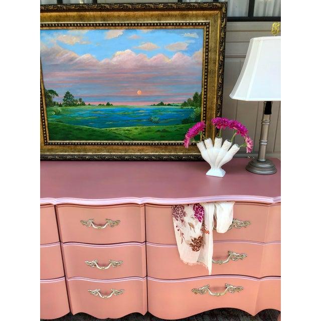 Drexel Vintage Drexel French Provincia Pink Triple Dresser For Sale - Image 4 of 13