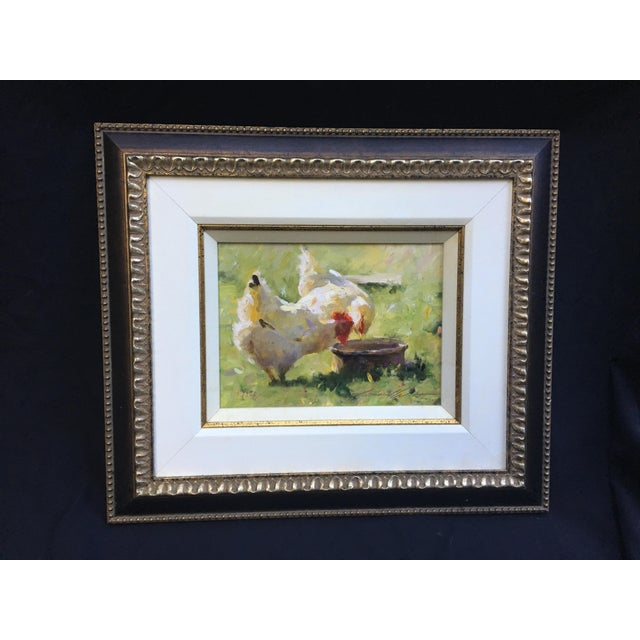 """Leonard Wren """"Spring Chickens"""" giclee on canvas framed Sold Out Ready to hang"""