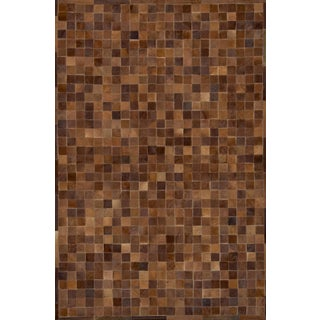 Handmade Brown Cowhide Patchwork Area Rug - 8′ × 10′
