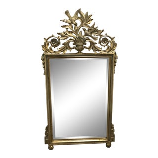 Gold Gilded Ornate Rococo Bird Mirror For Sale