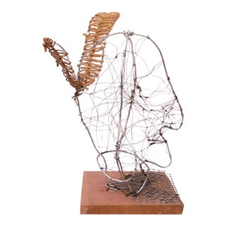 """Joyce Blum Mounted Wire Native American """"Face"""" Sculpture For Sale"""
