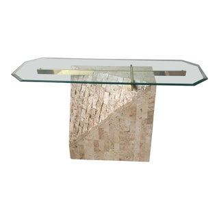 Vintage Stone & Glass Console Table