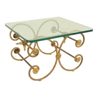 French Pastry Style Gilt Iron and Glass Occasional Table For Sale