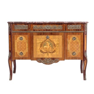 20th Century Louis XVI Style Brass-Mounted Kingwood and Marquetry Commode For Sale