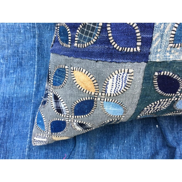 Tribal Patchwork Antique Indigo Textile Pillow - Image 8 of 9