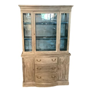 Vintage French Painted Gray China Cabinet For Sale
