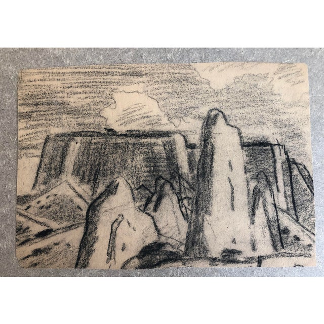 1930s 1930s Vintage Eliot Clark Monument Valley, Colorado Plein Air Drawing For Sale - Image 5 of 6