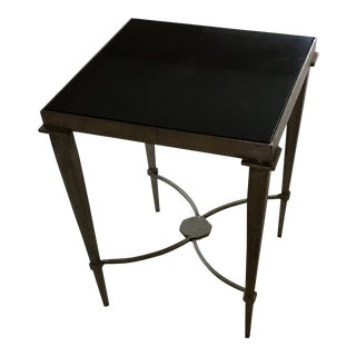 Contemporary Metal and Granite Accent Table For Sale