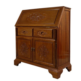 1950s Chinese Rosewood Carved Secretary Desk For Sale