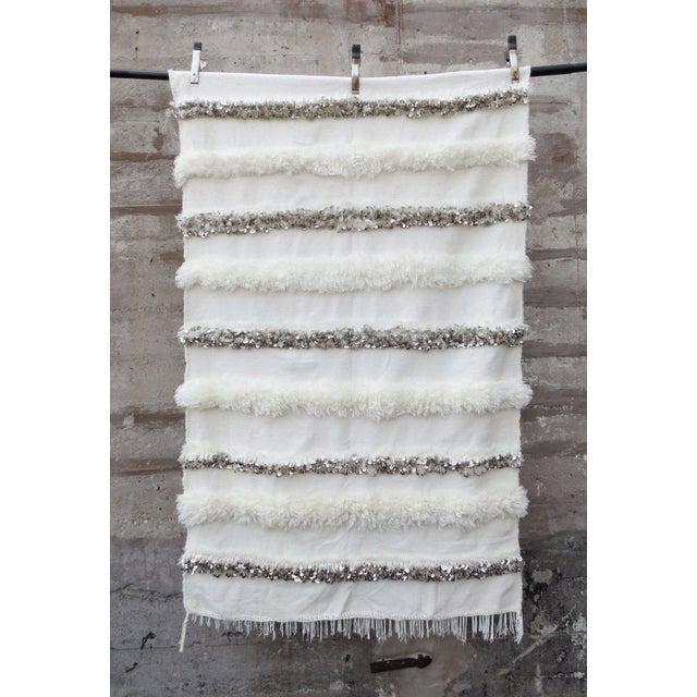 Boho Chic Blanc' Sequins & Fringe Moroccan Wedding Blanket For Sale - Image 3 of 6