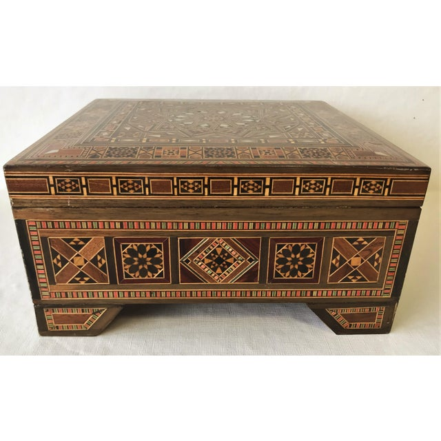 Wood Turkish Inlaid Marquetry Mosaic Box With Key For Sale - Image 7 of 13