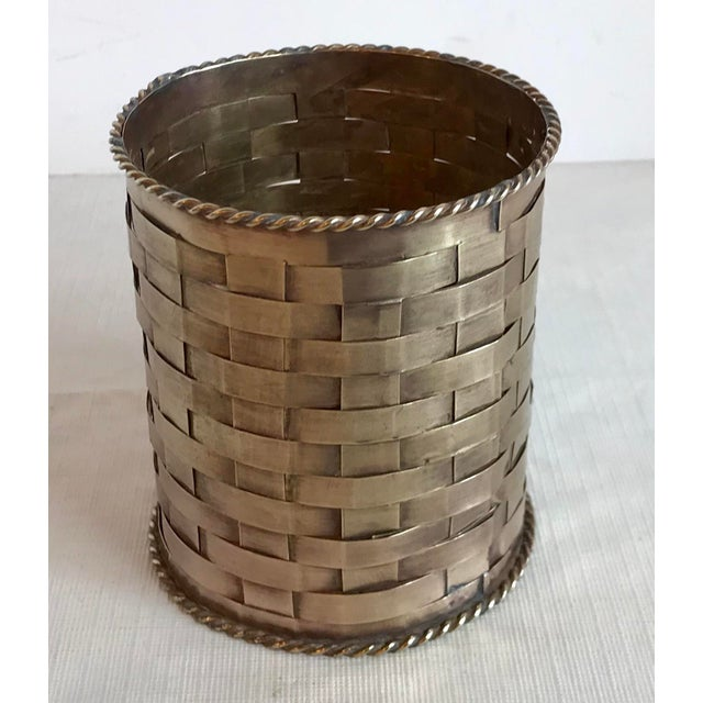 Metal Vintage Brass Woven Pencil Can For Sale - Image 7 of 7