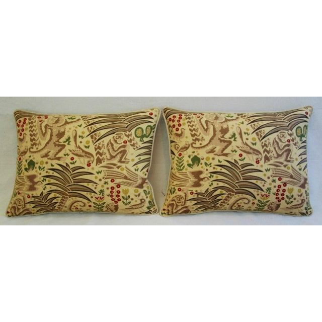 Custom Clarence House Gibbon Fabric Pillows- A Pair - Image 3 of 10