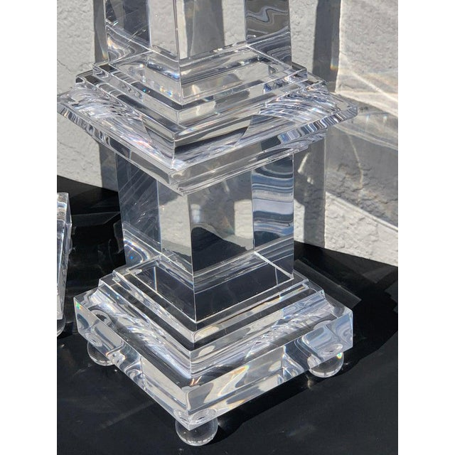 Monumental Pair of Footed Lucite Obelisks For Sale - Image 10 of 13