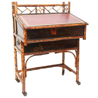 1900s Boho Chic Bamboo Davenport Desk For Sale