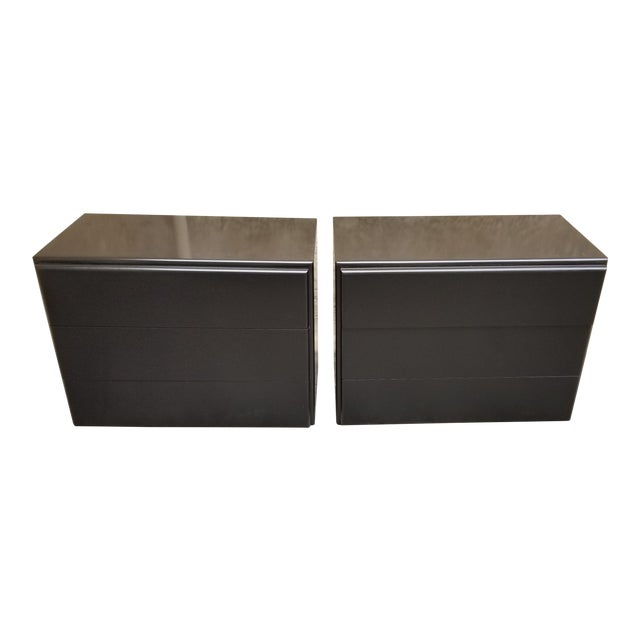 Contemporary Milo Baughman Thayer Coggin Black Lacquer Side Tables - a Pair For Sale