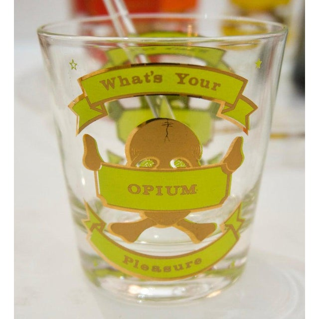 """Glass """"Whats Your Pleasure"""". Mid-Century Colorful Glass Barware Set - 27 Pcs For Sale - Image 7 of 13"""