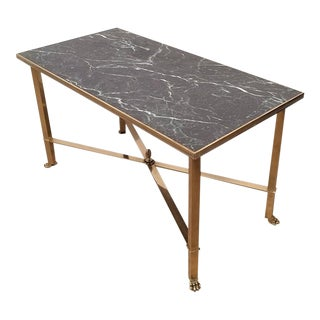 Brass and Faux Marble Coffee Table