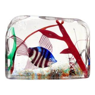 Murano Silver Striped Fish and Coral Italian Art Glass Aquarium Block Sculpture For Sale