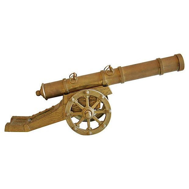 Vintage Mid-Century Brass Cannon - Image 1 of 4