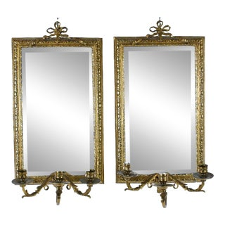 Antique Style Bronze Mirrors - a Pair For Sale