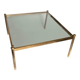 Mid Century Modern Brass and Glass Square Coffee Table For Sale