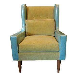 Custom Leather & Velvet Upholstered Modern Wing Chair