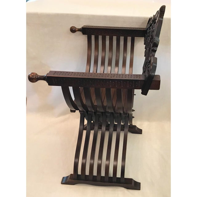 Early 20th Century 20th Century Italian Savonarola X-Form Carved Wooden Chair For Sale - Image 5 of 13