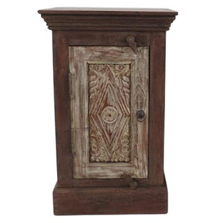 Whitewash Carved Door Bedside Cabinet For Sale