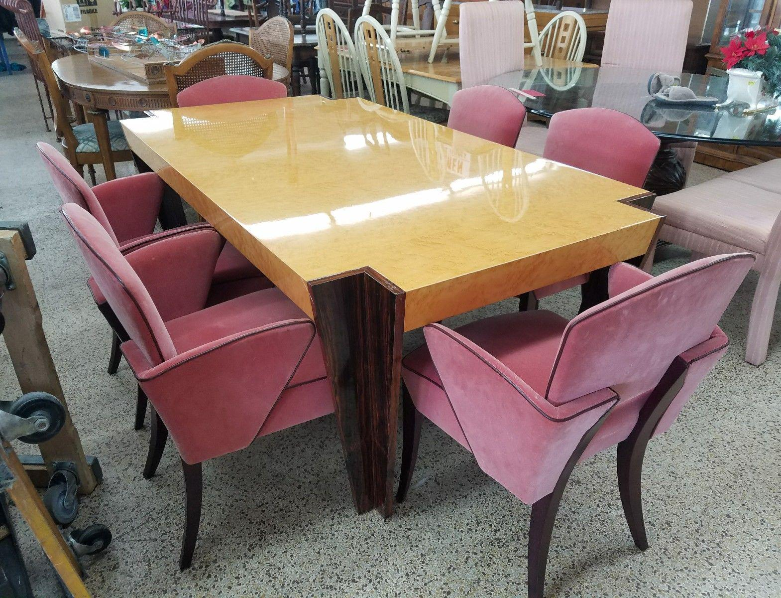 Italian Art Deco Revival Rosewood   Birdseye Maple Dining Set For Sale In  Miami   Image