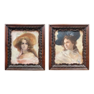 Mid 19th Century Portraits of Two Young Women Pastel Drawings, Framed - a Pair For Sale