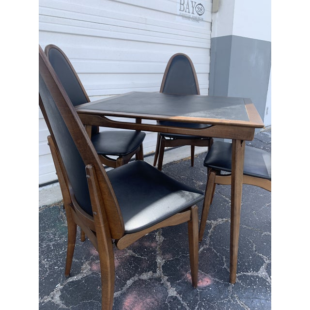 Black 1960's Stakmore Danish Modern Game Table and 4 Chairs - 5 Pieces For Sale - Image 8 of 9