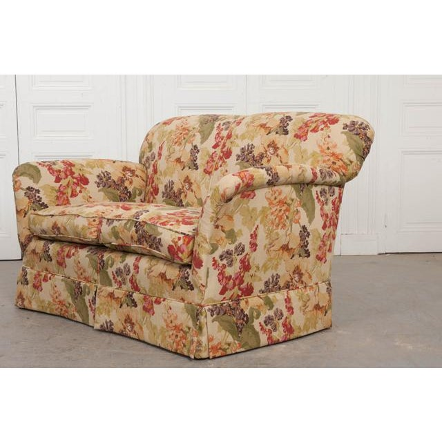 This incredibly comfortable settee love seat is from England, c. 1930's, and is freshly upholstered in RM CoCo floral...