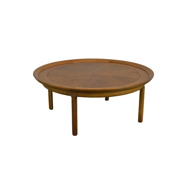 "Tomlinson Sophisticate 40"" Round Mid Century Modern Walnut & Recan Coffee Table For Sale"