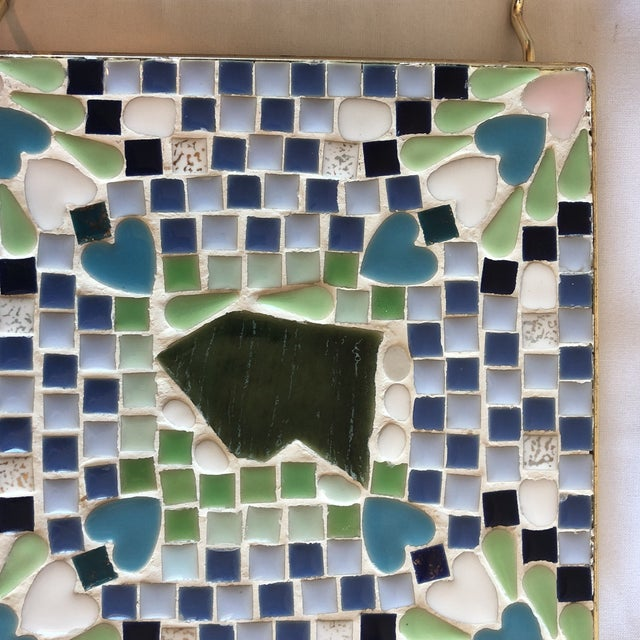 Vintage Blue & Green Mosaic Trivet For Sale In Phoenix - Image 6 of 8