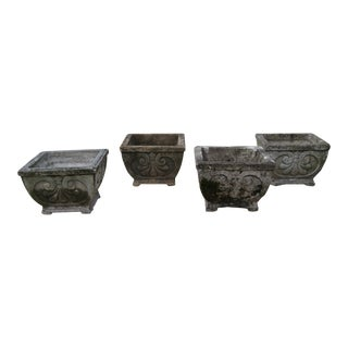 Early 20th Century Antique Rococo Style Footed Concrete Planters - Set of 4